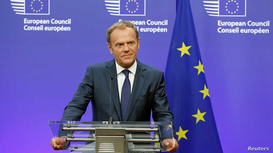 European Council President Donald Tusk briefs the media after Britain voted to leave the bloc, in Brussels, Belgium, June 24, 2016.