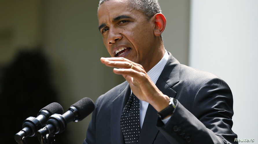 FILE - President Barack Obama speaks to reporters in the White House Rose Garden in Washington.