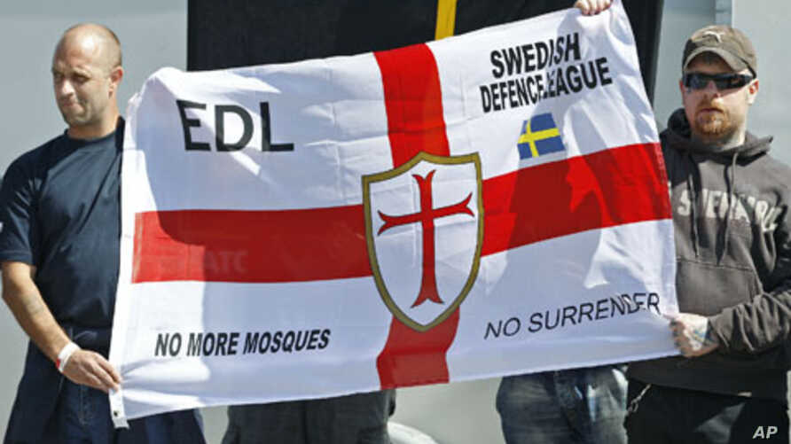Members of the English Defense League [EDL] join Swedish nationalist right-wing groups during a demonstration to protest the building of a new mosque in Gothenburg, Sweden, May 2011. (file photo)