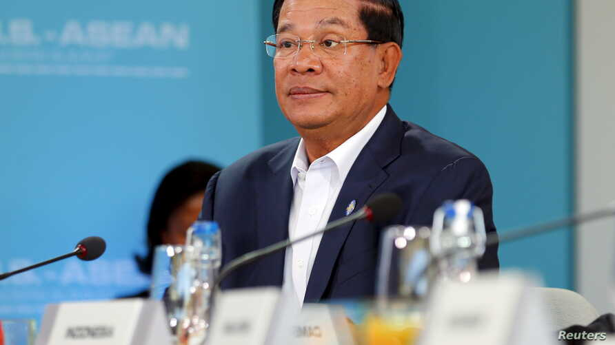 FILE - Cambodian Prime Minister Hun Sen has reshuffled his cabinet, with the changes expected to win parliamentary approval April 4. He's shown at the Association of Southeast Nations (ASEAN) summit in Rancho Mirage, Calif., Feb. 15, 2016.