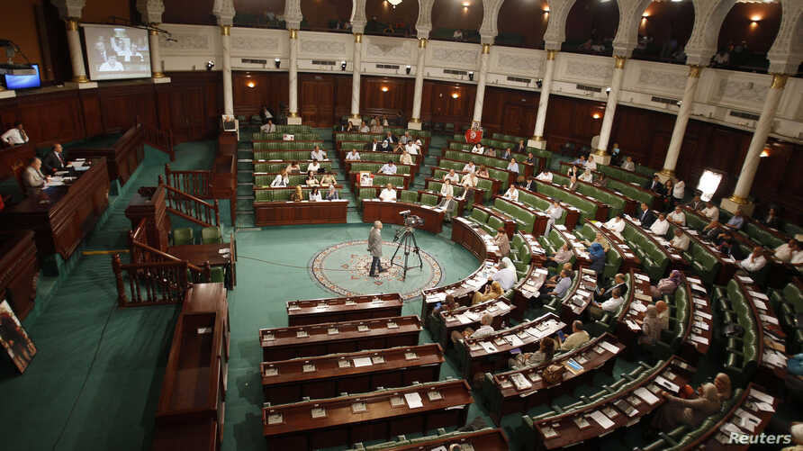 FILE - A general view shows Tunisia's Constituent Assembly. Tunisia's parliament agreed to hold parliamentary elections and a presidential poll a month later, another step towards full democracy in the country.