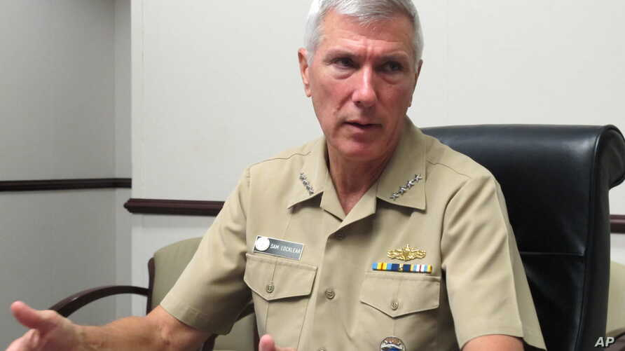 Adm. Samuel Locklear III, the U.S. Pacific Command commander, speaks to reporters at his headquarters in Camp H.M. Smith, Hawaii on Wednesday, July 25, 2012.