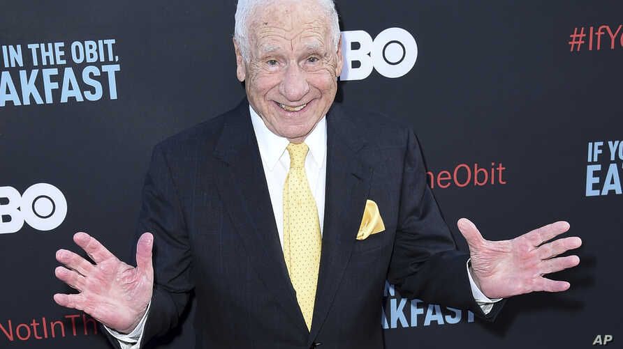 """FILE - Mel Brooks attends the LA Premiere of """"If You're Not In The Obit, Eat Breakfast"""" at the Samuel Goldwyn Theater, May 17, 2017, in Beverly Hills, Calif."""