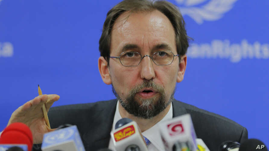 FILE -  United Nations High Commissioner for Human Rights Zeid Ra'ad al-Hussein speaks in Colombo, Sri Lanka.