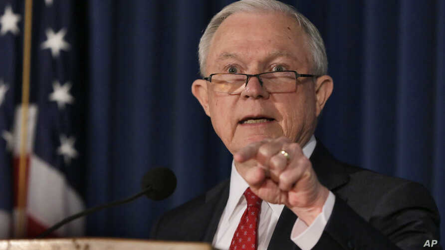 FILE -U.S. Attorney General Jeff Sessions delivers remarks about defending national security, at the U.S. attorney's office for the Southern District of New York, Nov. 2, 2017. On Nov. 16, Sessions touted recent arrests as an important step in the Tr