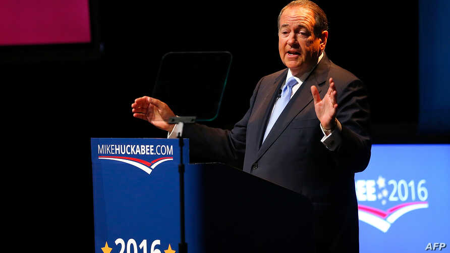 Former Arkansas Gov. Mike Huckabee speaks as he officially announces his candidacy for the 2016 presidential race in Hope, Arkansas, May 5, 2015.