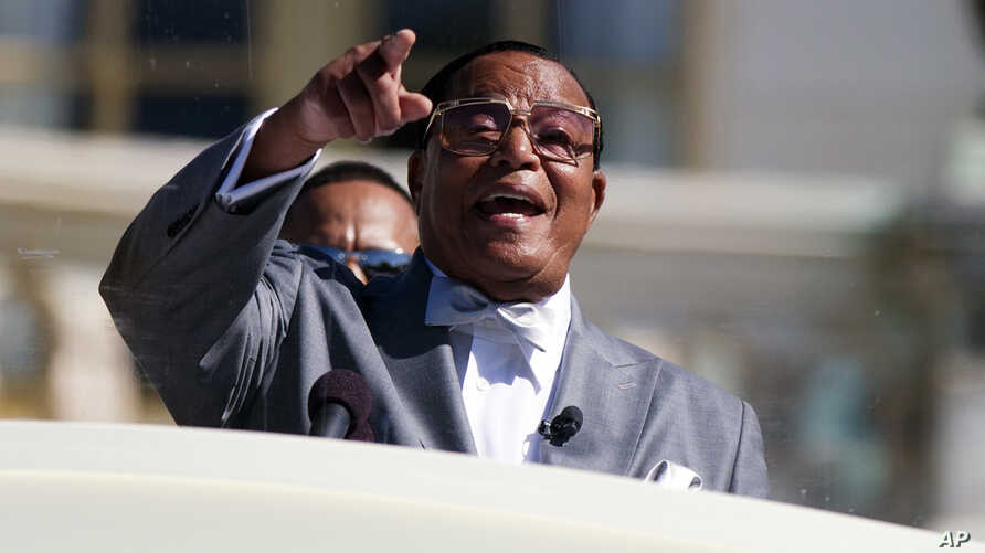 Minister Louis Farrakhan speaks during a rally to mark the 20th anniversary of the Million Man March in Washington, Oct. 10, 2015.