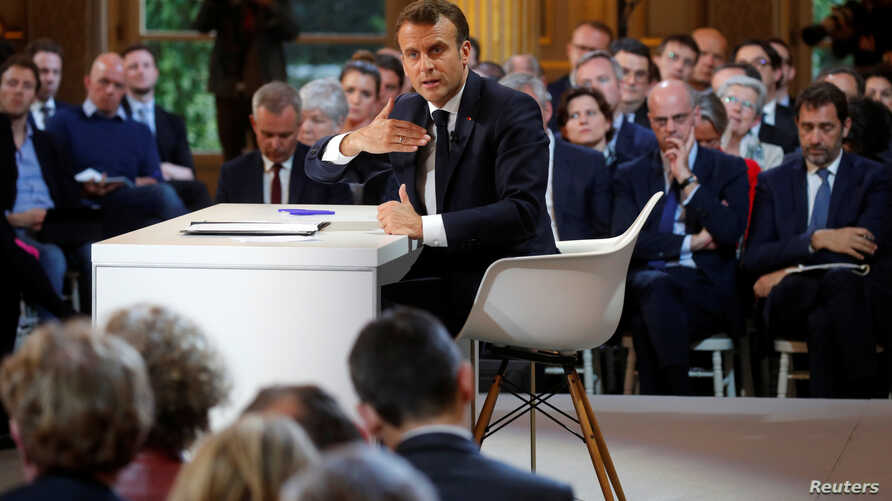 French President Emmanuel Macron speaks during a news conference to unveil his policy response to the yellow vests protest, at the Elysee Palace in Paris, France, April 25, 2019.