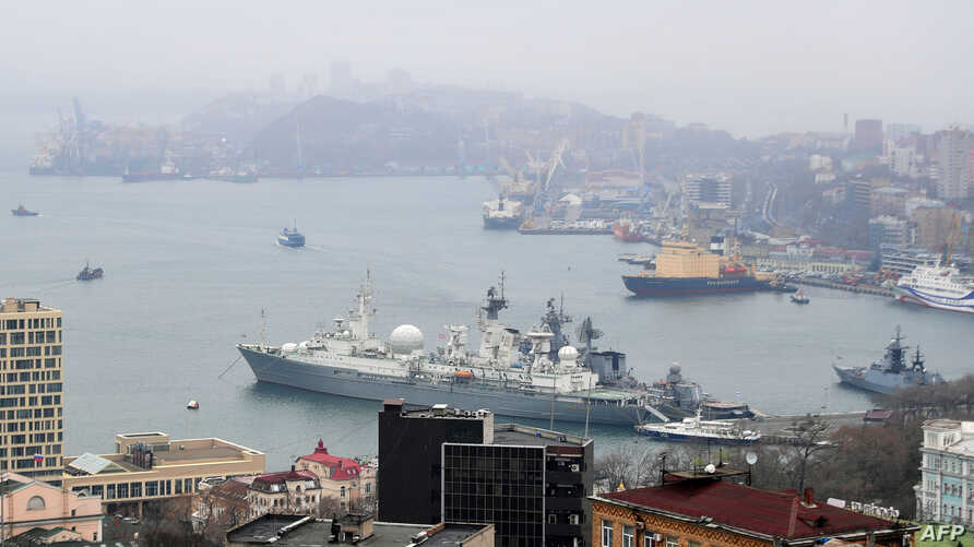 A view of the far-eastern Russian port of Vladivostok from an observation point on April 23, 2019.