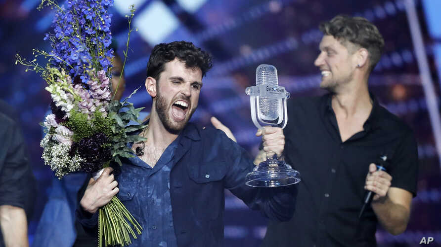 Duncan Laurence of the Netherlands celebrates after winning the 2019 Eurovision Song Contest grand final in Tel Aviv, May 18, 2019.