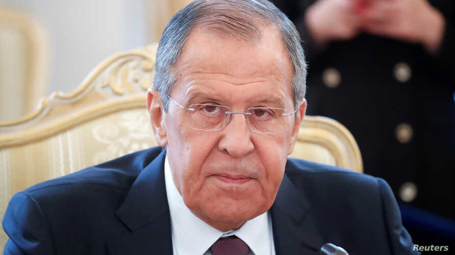 Russian Foreign Minister Sergei Lavrov attends a meeting with his Colombian counterpart Carlos Holmes Trujillo in Moscow, June 3, 2019.