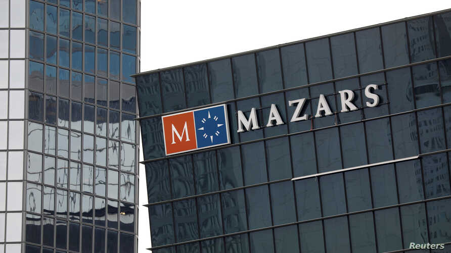 FILE - The logo of Mazars, an international organization that specializes in audit, accounting, tax and advisory services, is seen on a building in the financial district of La Defense near Paris, May 14, 2018.