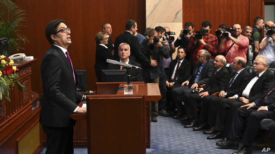 Stevo Pendarovski, the new President of North Macedonia speaks, during an inauguration ceremony at the parliament building in Skopje, North Macedonia, May 12, 2019.