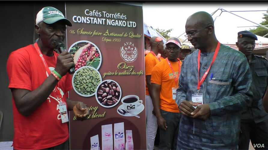 Cameroon officials encouraging people to drink coffee, April 17, 2019, in Yaounde, Cameroon.