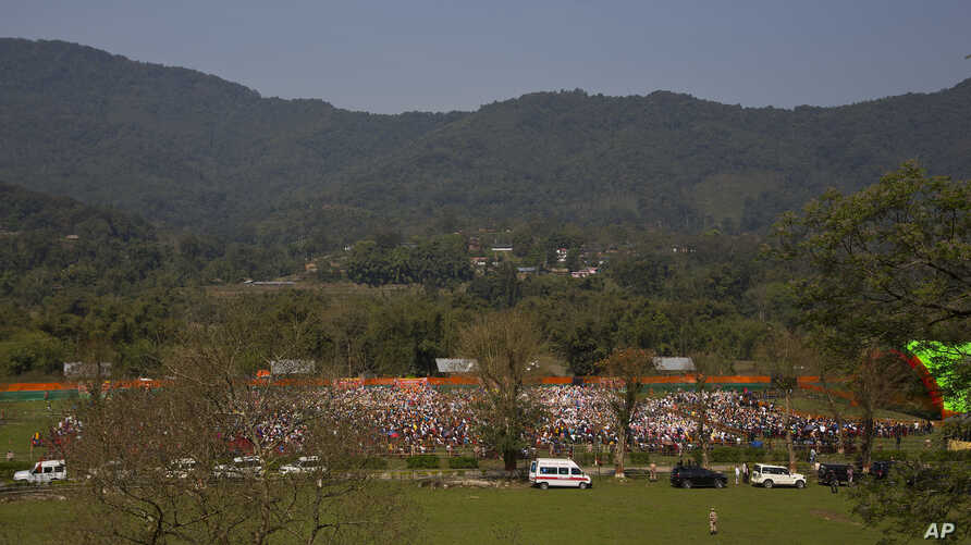 FILE - Supporters of Indian Prime Minister Narendra Modi attend an election campaign rally of ruling Bharatiya Janata Party (BJP) in Along, Arunachal Pradesh, India.