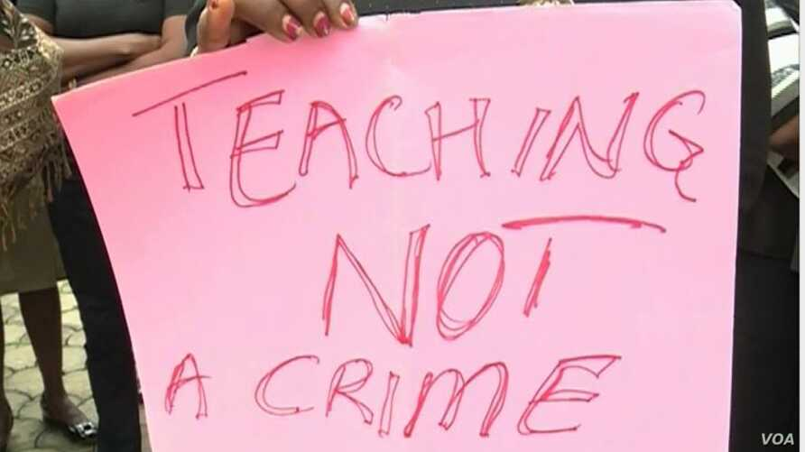 Messages carried by Cameroon teachers while protesting, Bamenda, Cameroon, May 24, 2019.