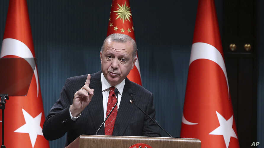FILE - Turkey's President Recep Tayyip Erdogan speaks during a ceremony at the presidential palace, in Ankara, Turkey, May 6, 2019.