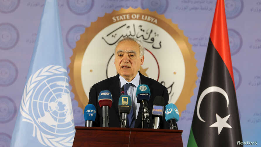 FILE - The U.N. envoy for Libya, Ghassan Salame, speaks during a news conference in Tripoli, Libya, April 6, 2019.