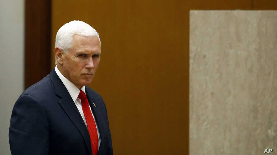 Vice President Mike Pence arrives to speak at the 49th Washington Conference on the Americas, Tuesday, May 7, 2019, at the U.S. State Department in Washington.