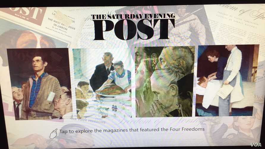 Norman Rockwell's Four Freedoms illustrations were published in The Saturday Evening Post. (J.Taboh/VOA)