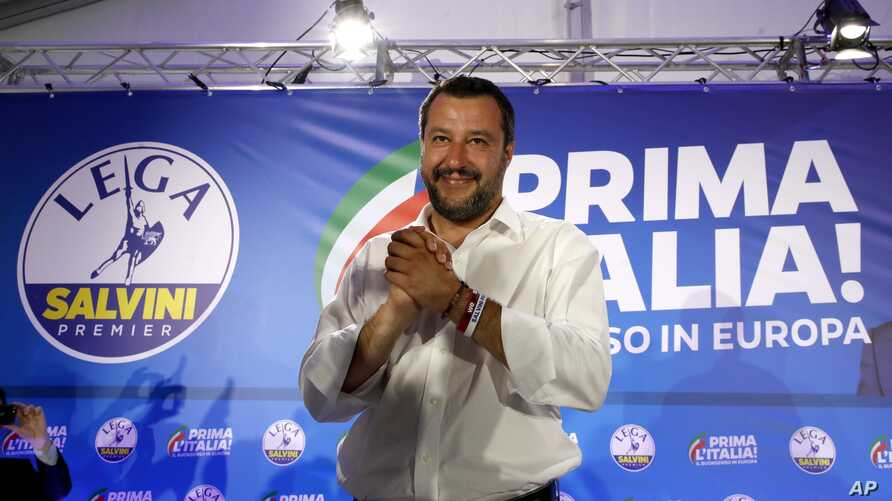 Interior Minister and Deputy Premier Matteo Salvini arrives for a press conference at the League's headquarters, in Milan, Italy, May 27, 2019.