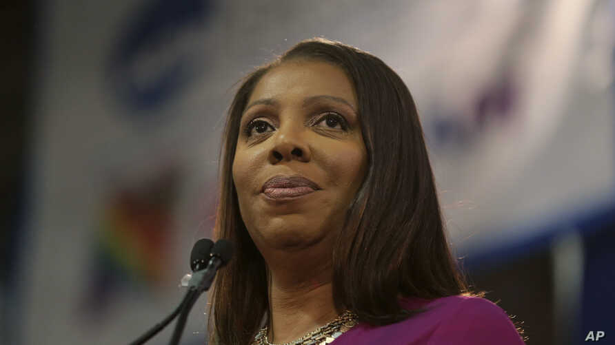 FILE - Attorney General of New York Letitia James speaks during an inauguration ceremony in New York, Jan. 6, 2019.