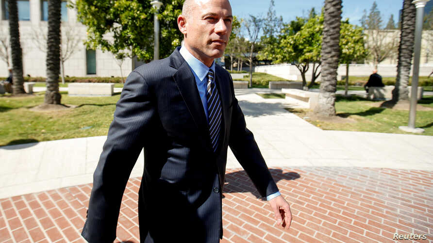 Attorney Michael Avenatti leaves court after making an initial appearance on charges of bank and wire fraud at federal court in Santa Ana, California, April 1, 2019.
