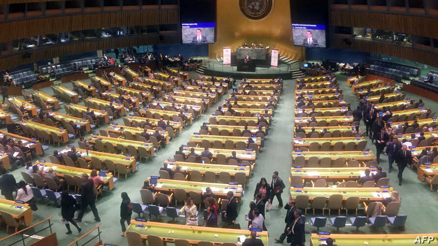 Diplomats from the Lima Group (front and right) leave the United Nations General Assembly in protest on April 24, 2019, in New York, as Venezuelan Foreign Minister, Jorge Arreaza, starts speaking about multilateralism.