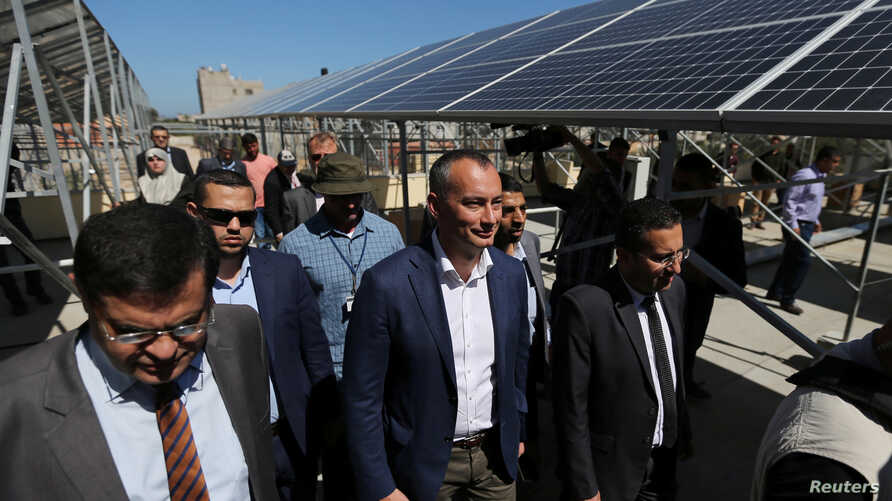 Nickolay Mladenov, the U.N. special coordinator for Middle East peace, visits a solar energy project at Nasser hospital in the southern Gaza Strip, May 13, 2019.