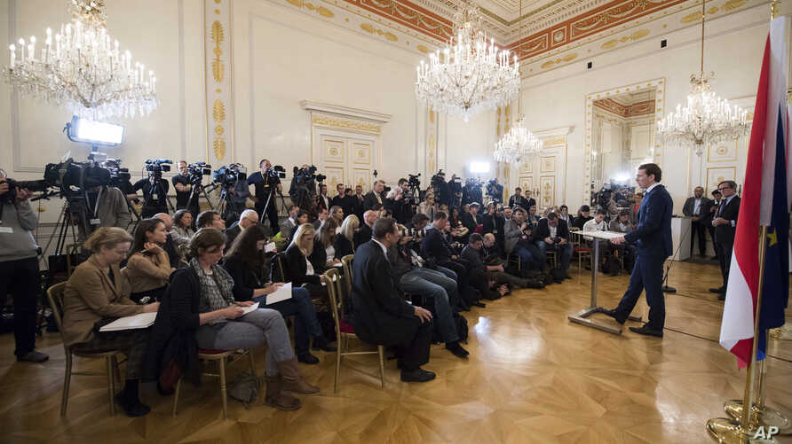 Austrian Chancellor Sebastian Kurz, address the media during af news conference after the inauguration ceremony at the Chancellors Office in Vienna, Austria, May 21, 2019.