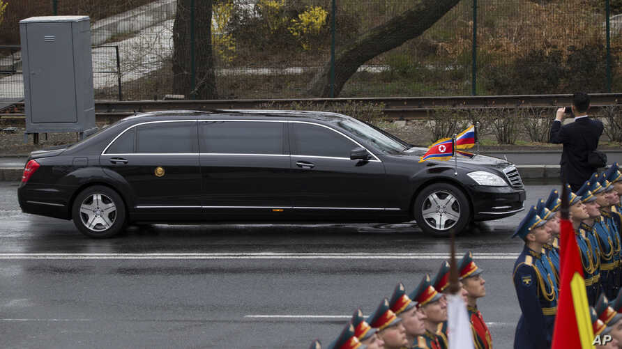 North Korean leader Kim Jong Un's limousine arrives for a wreath-laying ceremony in Vladivostok, Russia, April 26, 2019.