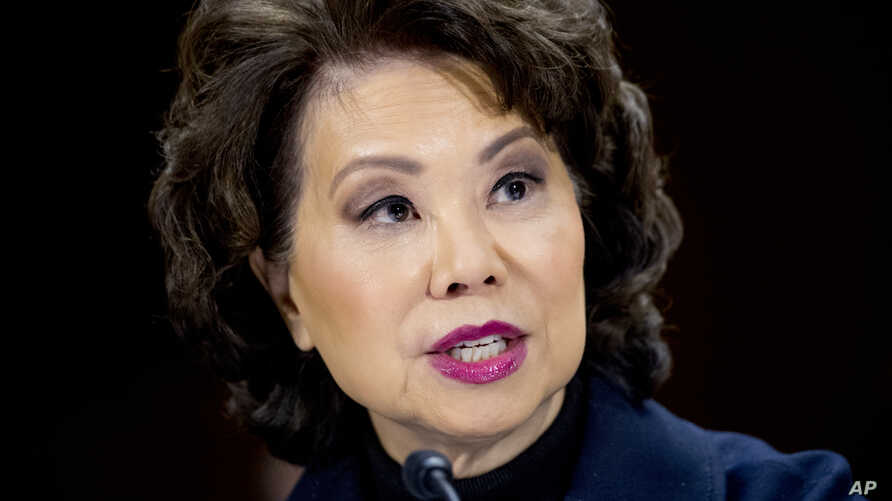 FILE - Transportation Secretary Elaine Chao speaks during a Senate Committee on Commerce, Science, & Transportation hearing on infrastructure on Capitol Hill in Washington, March 14, 2018.