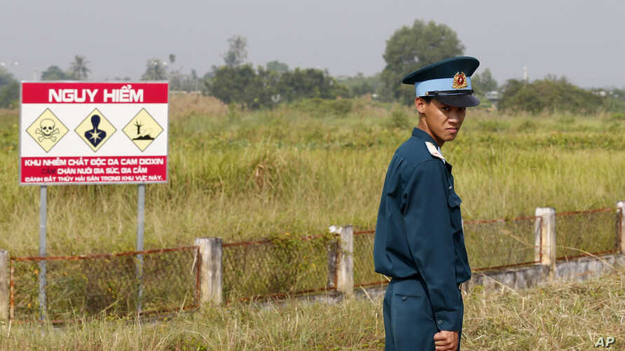A Vietnamese soldier stands guard at the dioxin contaminated area while U.S. Defense Secretary Jim Mattis visits Bien Hoa air base in Bien Hoa, outside Ho Chi Minh City, Vietnam, Oct. 17, 2018.