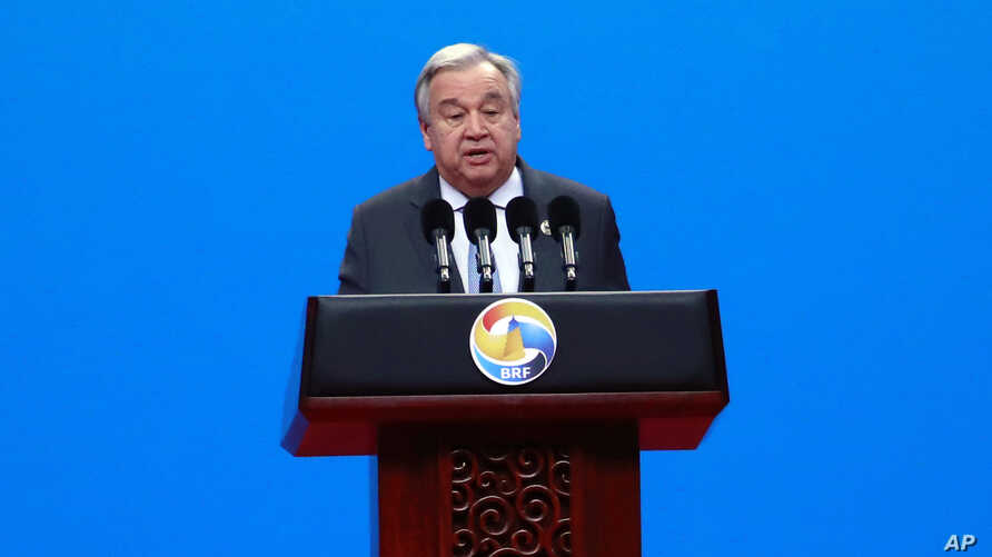 U.N. Secretary General Antonio Guterres delivers his speech at the opening ceremony of the second Belt and Road Forum for International Cooperation (BRF) in Beijing Friday, April 26, 2019.