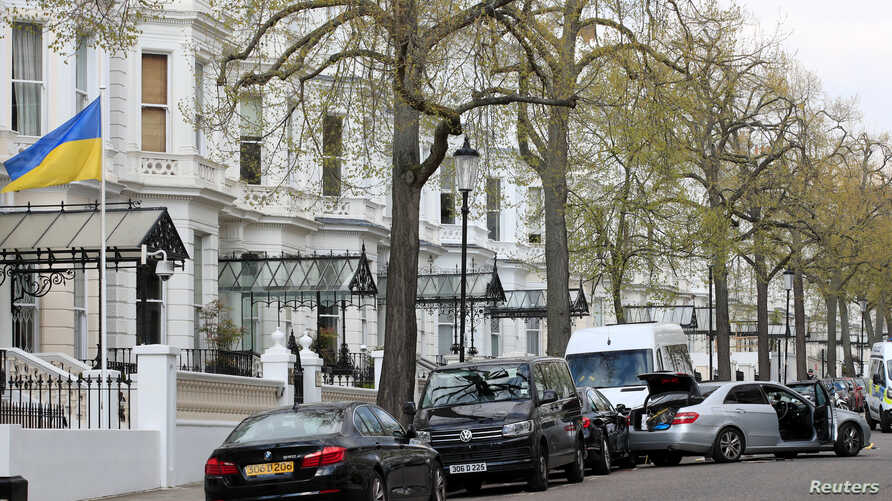 General view the site where police fired shots after a vehicle rammed the parked car of Ukraine's ambassador, outside the Ukrainian embassy in London, Britain, April 13, 2019.