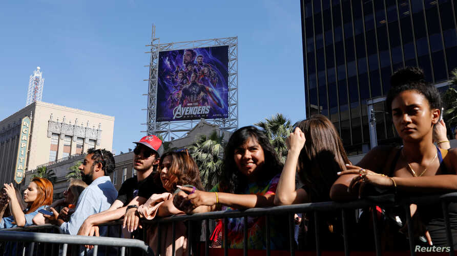 Avengers fans wait in line at the TCL Chinese Theatre in Hollywood to attend the opening screening of 'Avengers: Endgame' in Los Angeles, California, U.S., April 25, 2019.