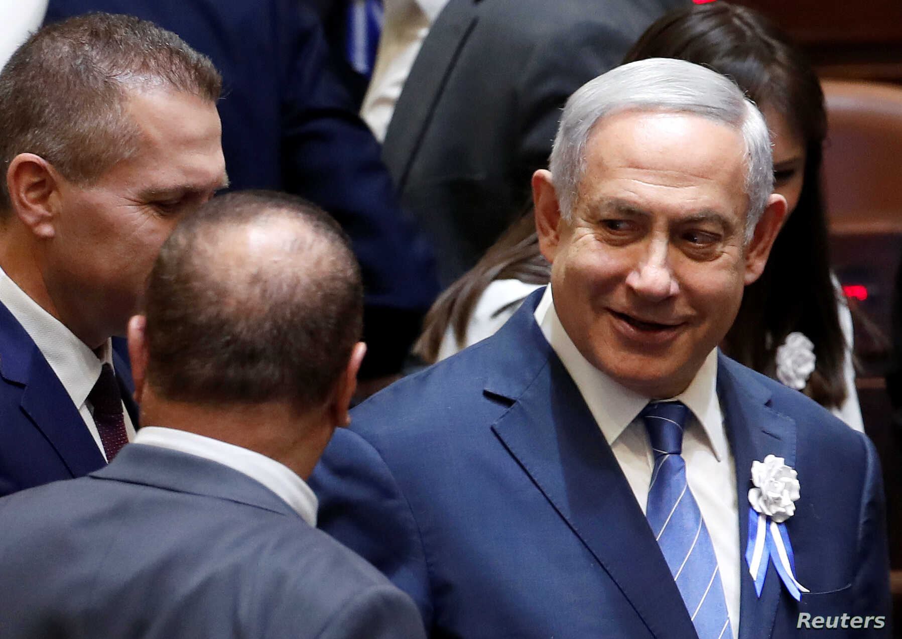 Israeli Prime Minister Benjamin Netanyahu arrives to attend an inauguration ceremony of Israel's 21st Knesset, or parliament, in Jerusalem, April 30, 2019.