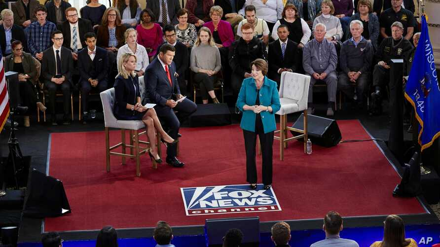 Democratic presidential candidate Sen. Amy Klobuchar, D-Minn., speaks during a Fox News Channel town hall meeting, May 8, 2019, in Milwaukee.