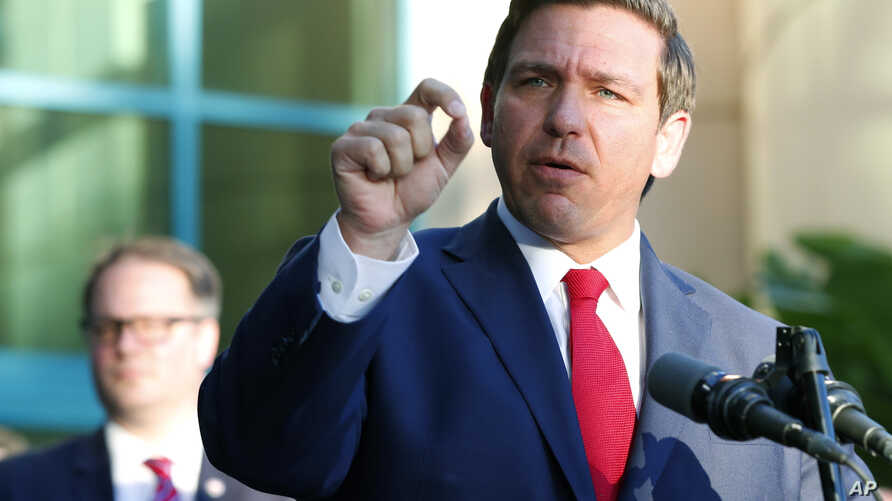 Florida Gov. Ron DeSantis speaks at the Broward County Sheriff's Office Fort Lauderdale headquarters,  Jan. 11, 2019, in Fort Lauderdale, Florida.