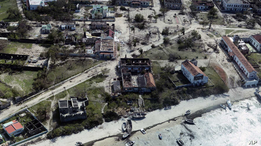 An aerial shot shows widespread destruction caused by Cyclone Kenneth when it struck Ibo island north of Pemba city in Mozambique, May, 1, 2019.