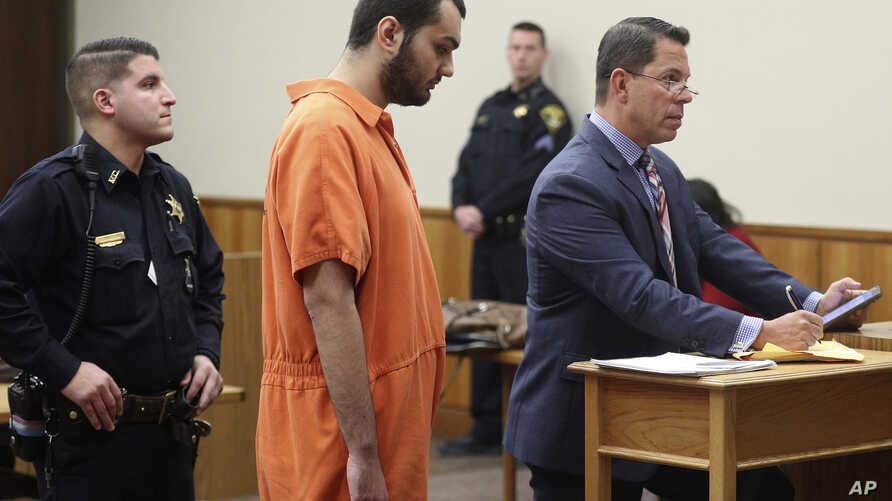 Vincent Vetromile appears in court with his attorney Stephen Sercu in Rochester, N.Y., on Thursday, March 7, 2019.