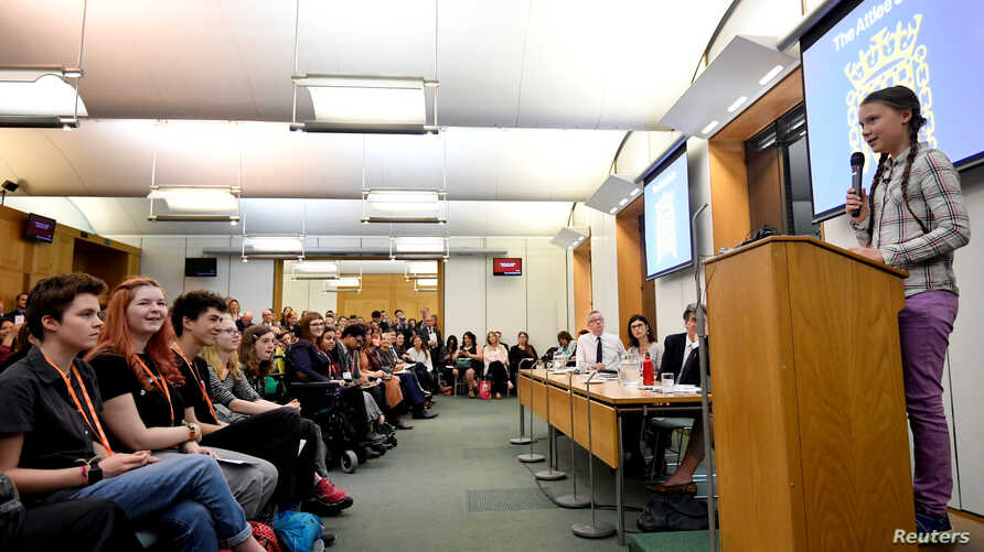 Swedish environmental activist Greta Thunberg gives a speech at the House of Commons as a guest of Caroline Lucas, in London, Britain, April 23, 2019.