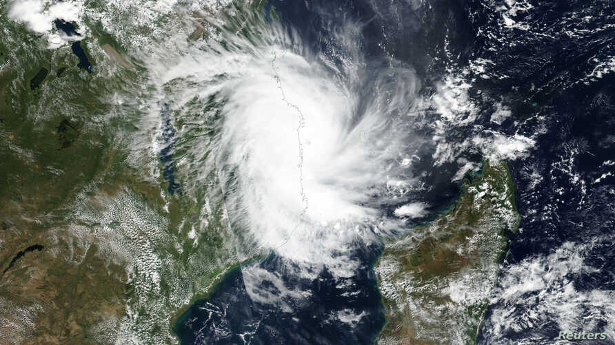 Tropical Cyclone Kenneth approaches the coast of Mozambique in this April 25, 2019 handout satellite image.