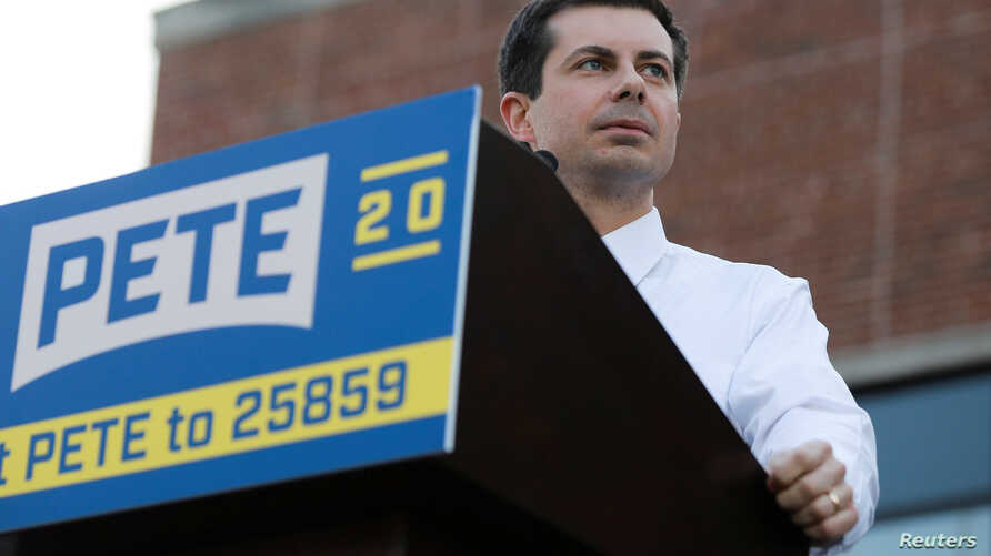 FILE - 2020 Democratic presidential candidate Pete Buttigieg speaks at a campaign event in Des Moines, Iowa, April 16, 2019.
