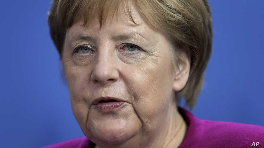 German Chancellor Angela Merkel speaks during a joint statement as part of a meeting with the Prime Minister of the Netherlands, Mark Rutte, at the chancellery in Berlin, Germany, May 16, 2019.