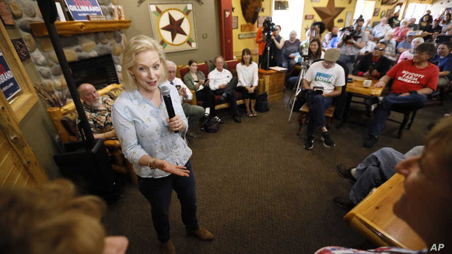Democratic presidential candidate Sen. Kirsten Gillibrand speaks to local residents at a coffee shop, May 25, 2019, in Mason City, Iowa.