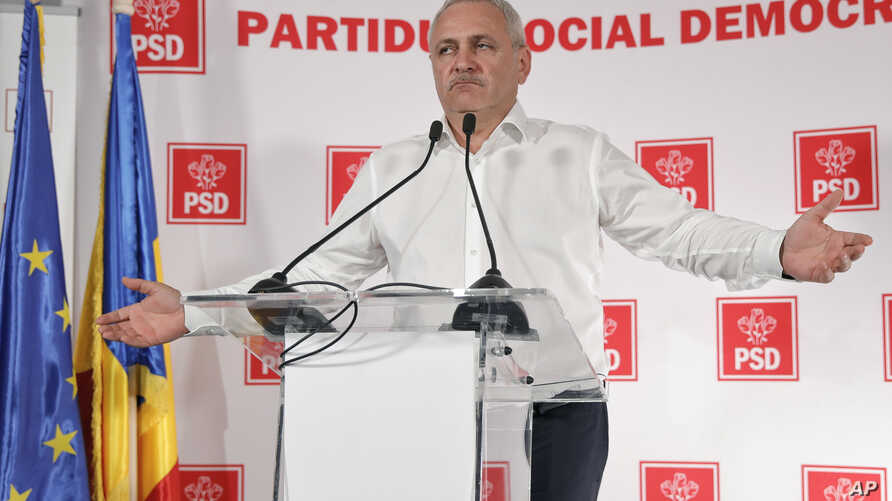 Liviu Dragnea, the head of the ruling Social Democratic party gestures during a press conference after exit polls were released after voting in the European Parliament elections, in Bucharest, Romania, May 26, 2019.