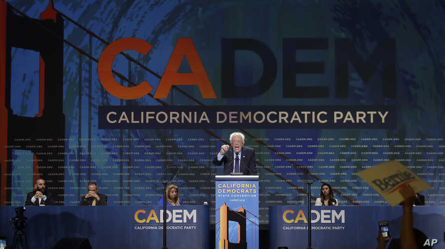 Democratic presidential candidate Sen. Bernie Sanders speaks during the 2019 California Democratic Party State Organizing Convention in San Francisco, June 2, 2019.