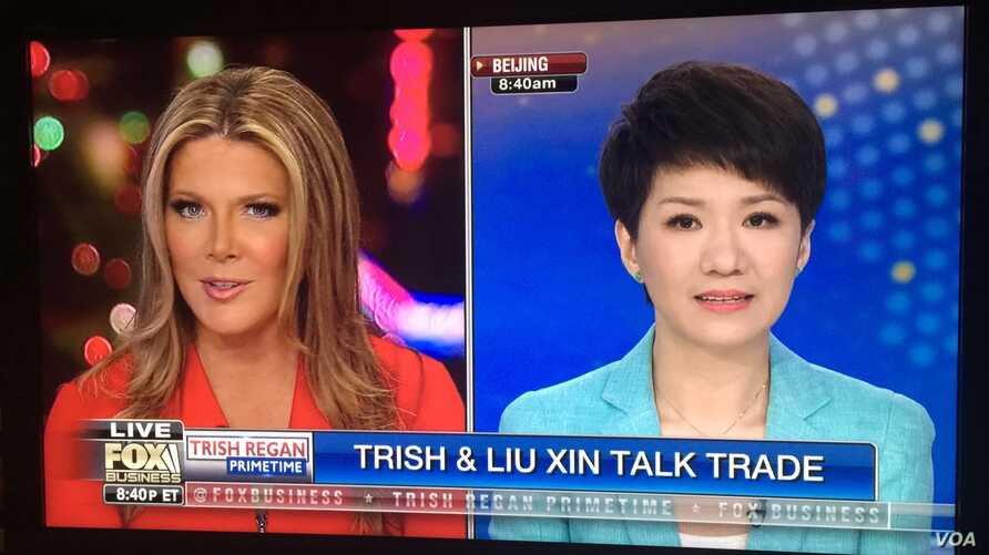 Trish Regan of Fox Business Network and Liu Xin of China's CGTN debate on U.S.-China trade issues, May 29, 2019