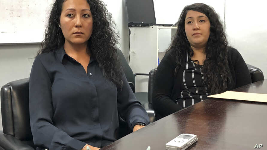 Lucian Ibarra, left, the sister of Jose Luis Ibarra Bucio, and Melissa Castro, Bucio's wife, talk about the impact of his loss, April 10, 2019, in Los Angeles.
